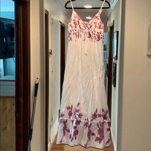 White and purple maxi dress